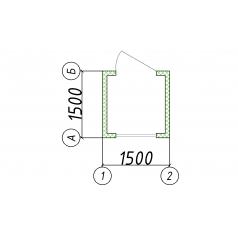 Блок-контейнер БК 01 пост охраны 1.5x1.5м