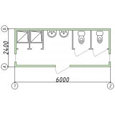 Блок-контейнер сантехнический 5.9 x 2.45