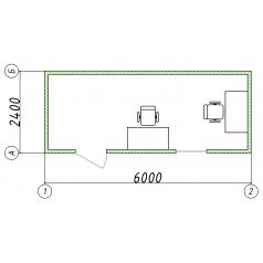 Блок-контейнер офисный 6.0x2.4x2.5