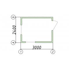 Блок-контейнер пост оxраны 2500x3000x2400 мм