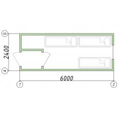 Строительный блок-контейнер 6.0x2.5 м