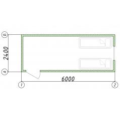 Блок-контейнер 2.5x6.0x2.5 эконом
