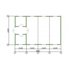 Одноэтажное модульное здание административно-бытовой комплекс из 4 блок-контейнеров