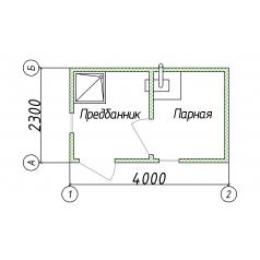 Модульное здание баня 2x4