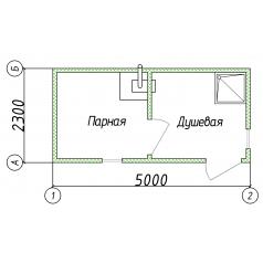 Баня бытовка для дачи 5x2.3